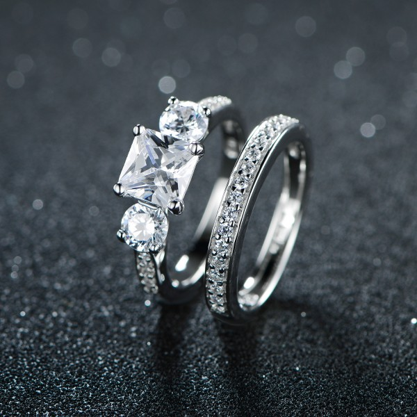925 Sterling Silver Ring For Women Inlaid Cubic Zirconia Polish Inner Arc Electroplating Platinum Classic and Exquisite