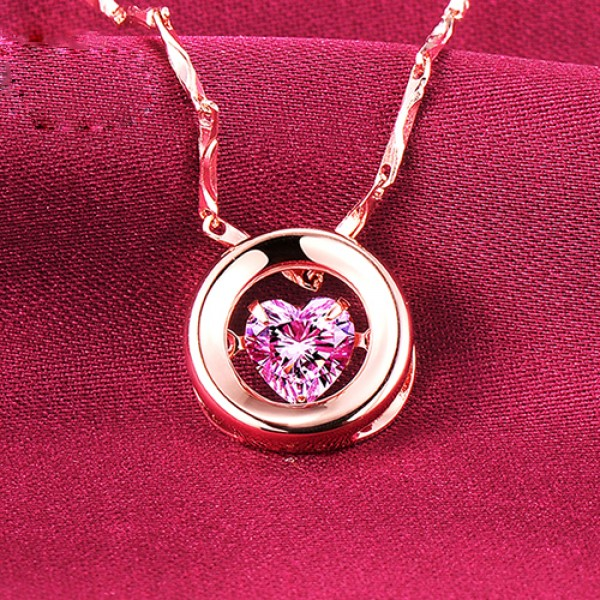 Heartbreaking 0.5 Carat Rose Gold Color ESCVD Diamonds Fashionable Women Necklaces Gift Necklaces