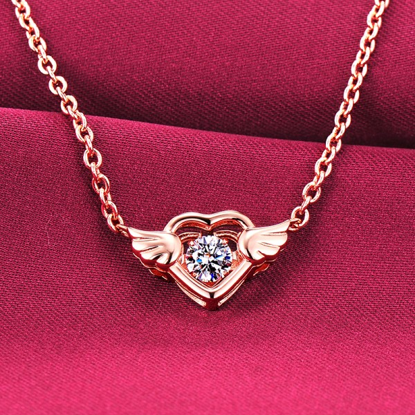 Heart With Wings Rose Gold Color ESCVD Diamonds Fashionable Women Necklaces Gift Necklaces