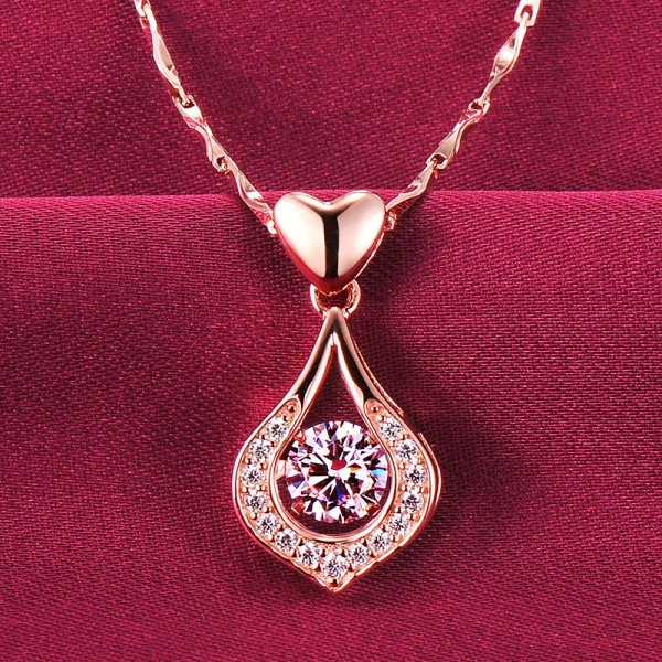 Delicate Heart Shape Rose Gold Color ESCVD Diamonds Fashionable Gift Necklaces For Her