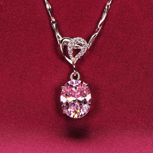 2.0 Carat Oval Pink Diamonds ESCVD Diamonds Fashionable Women Necklaces Gift Necklaces