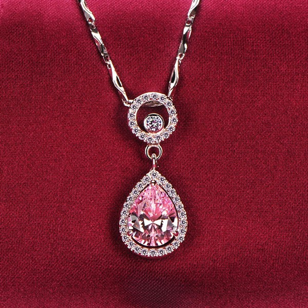 2.0 Carat Water Drop Pink Diamonds ESCVD Diamonds Fashionable Women Necklaces Gift Necklaces