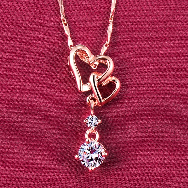 Two Hearts Tied Together 0.5 Carat Rose Gold Color ESCVD Diamonds Fashionable Women Necklaces Gift Necklaces