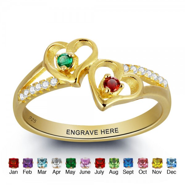 Gold Birthstone Rings Mothers Rings 1157 Sterling Silver Personalized Birthstone Family Cubic Zirconia Ring Mother's Day Gift