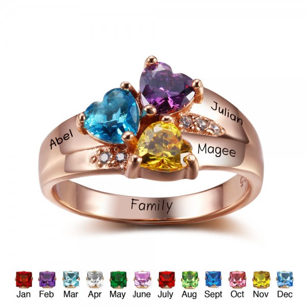 Rose Gold Birthstone Rings Mothers Rings 1133 Sterling Silver Personalized Birthstone Family Cubic Zirconia Ring Mother's Day Gift