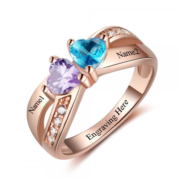 Rose Gold Birthstone Rings Mothers Rings 925 Sterling Silver Personalized Birthstone Family Cubic Zirconia Ring Mother's Day Gift