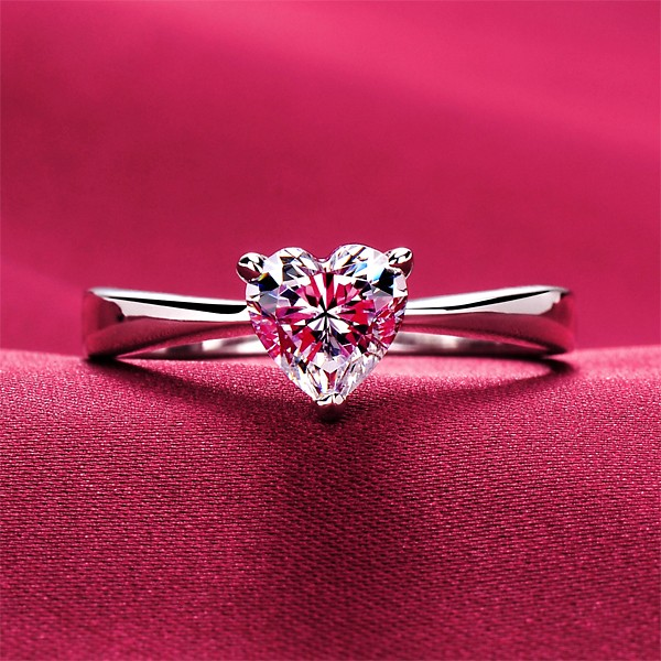 0.6 Carat Heart Shape ESCVD Diamonds Pt 950 Wedding Ring Women Ring