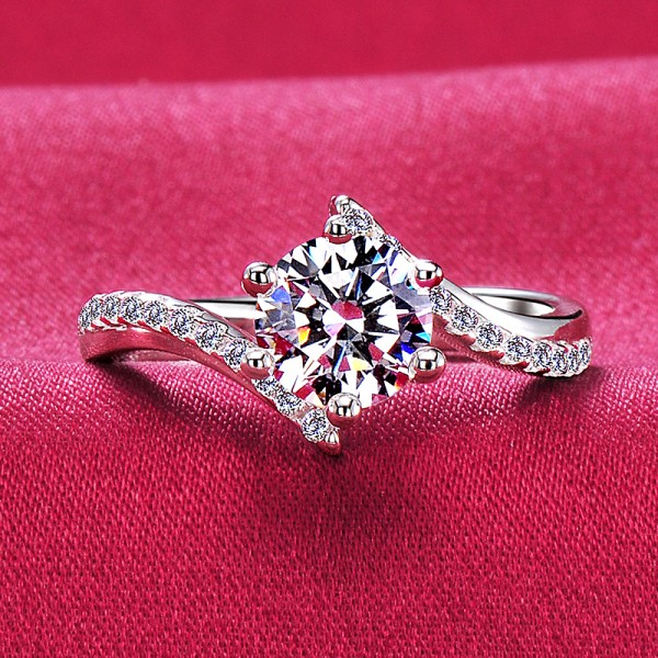 Impressive ESCVD Diamonds Pt 950 Wedding Ring Women Ring