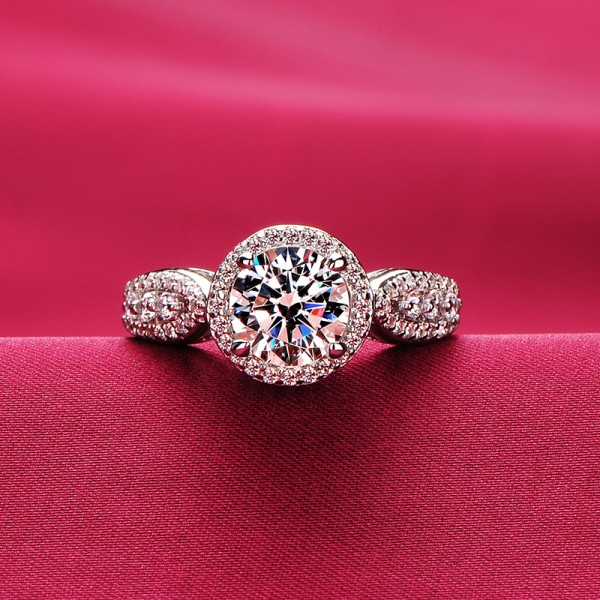 Fashionable 1.2 Carat ESCVD Diamonds Pt 950 Wedding Ring Women Ring