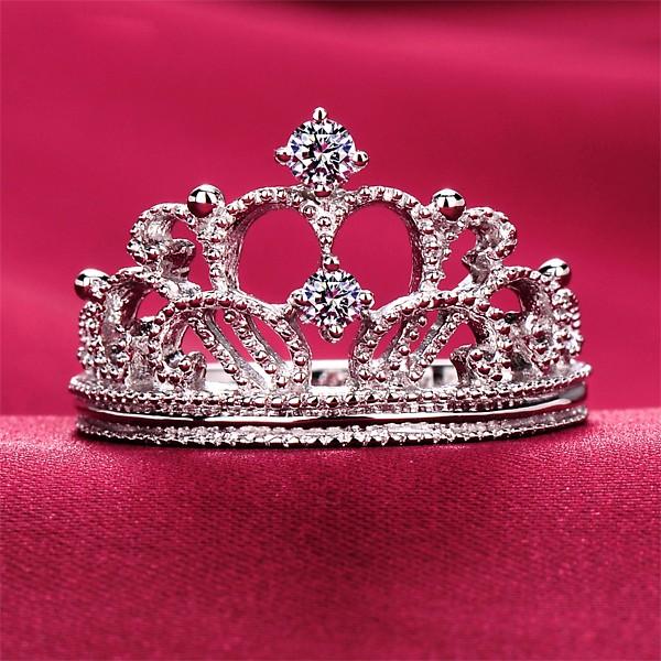 0.05 Carat Princess Crown ESCVD Diamonds Pt 950 Wedding Ring Women Ring