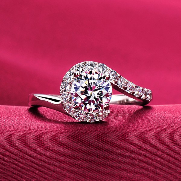 Stylish 1.0 Carat ESCVD Diamonds Lovers Ring Wedding Ring For Her