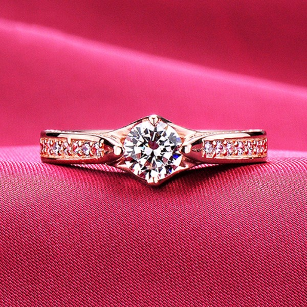 0.6 Carats Or More Rose Gold Color ESCVD Diamonds Lovers Ring Wedding Ring For Her