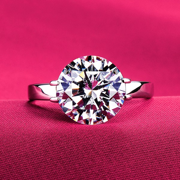 Valued 3.0 Carat Or More ESCVD Diamonds Lovers Ring Wedding Ring For Her