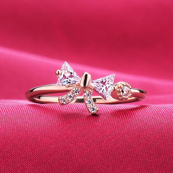 0.2 Carat Rose Gold Color Bow Shape ESCVD Diamonds Lovers Ring Wedding Ring Women Openning Ring