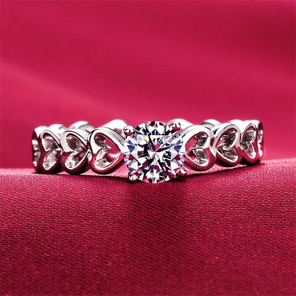 Connected Heart 0.5 Carat ESCVD Diamonds Lovers Ring Wedding Ring Women Ring