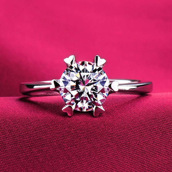 0.5 Carat Or More Six Heart Shape Claw ESCVD Diamonds Lovers Ring Wedding Ring Women Ring