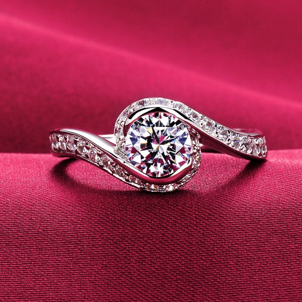 Elegant Musical Note Design 0.6 Carat ESCVD Diamonds Lovers Ring Wedding Ring Women Ring