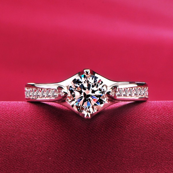 1.0 Carat Inlaid With Small Diamonds ESCVD Diamonds Lovers Ring Wedding Ring Women Ring
