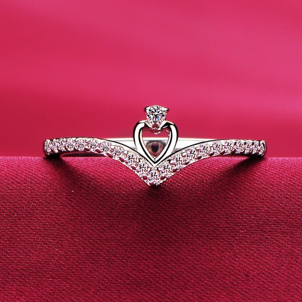 0.01 Carat Heart Shape ESCVD Diamonds Lovers Ring Wedding Ring Women Ring