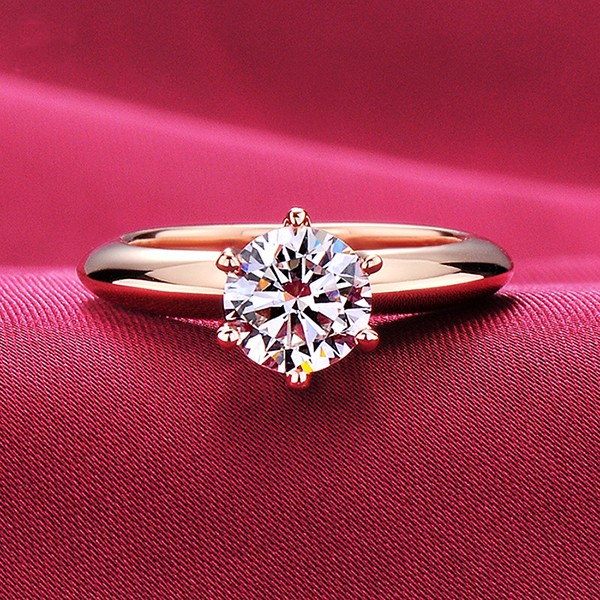 1.0 Carat Six Claw Rose Gold Color ESCVD Diamonds Lovers Ring Wedding Ring Women Ring