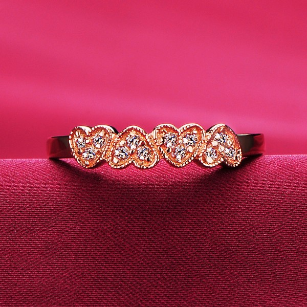 0.01 Carat Heart Shape Inlaid With Diamonds ESCVD Diamonds Lovers Ring Wedding Ring Women Ring