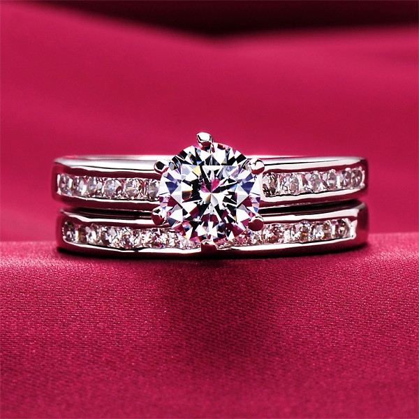 Six Claw 0.8 Carat ESCVD Diamonds Lovers Ring Wedding Ring Women Ring Sets