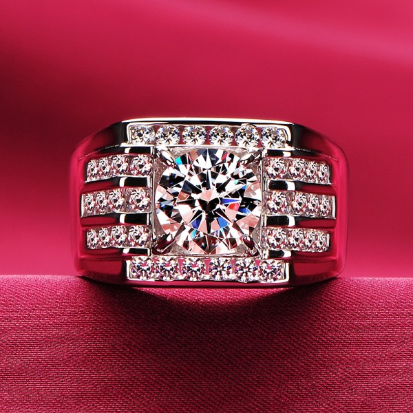 2.0 Carat Square ESCVD Diamonds Lovers Ring Wedding Ring Men Ring