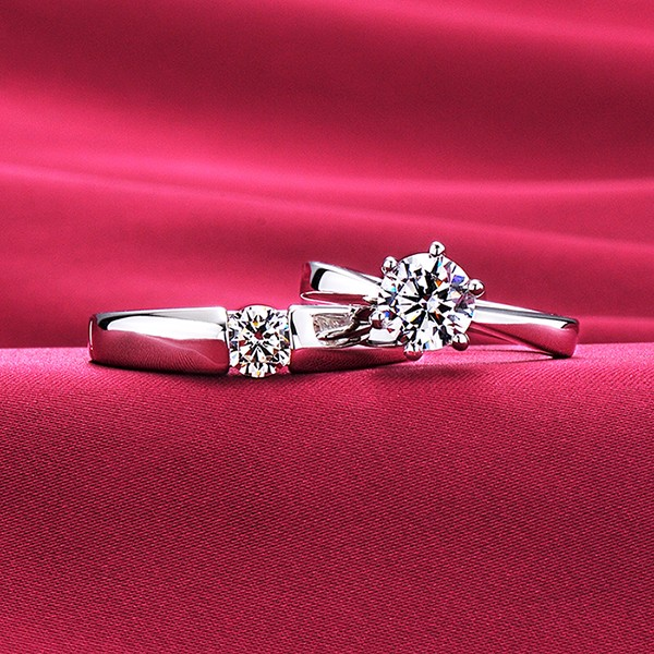 Pure Love High-Class ESCVD Diamonds Lovers Rings Wedding Rings Couple Rings