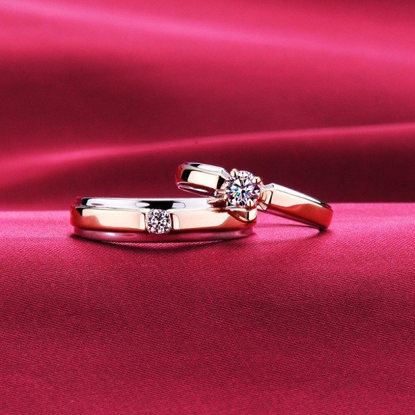 Rose Gold Color Four Claw Advanced ESCVD Diamonds Lovers Rings Wedding Rings Couple Rings