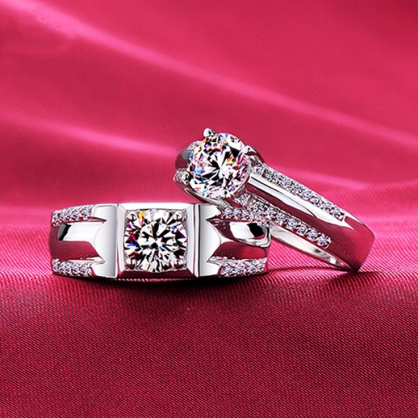 Regretless Love Top Level ESCVD Diamonds Lovers Rings Wedding Rings Couple Rings