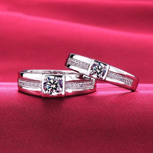 High Quality ESCVD Diamonds Lovers Rings Wedding Rings Cross Couple Rings