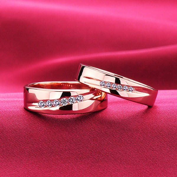 The Line Of Love Rose Gold Color ESCVD Diamonds Lovers Rings Wedding Rings Couple Rings