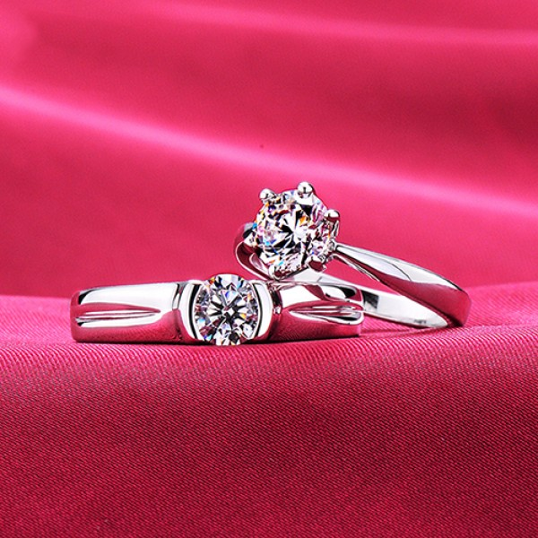 Simple Design Six Claw ESCVD Diamonds Lovers Rings Wedding Rings Couple Rings