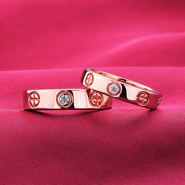 Round Pattern Rose Gold Color ESCVD Diamonds Lovers Rings Wedding Rings Couple Rings