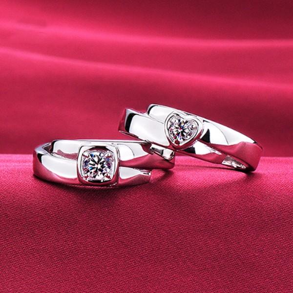 Unchanged Heart ESCVD Diamonds Lovers Rings Wedding Rings Couple Rings