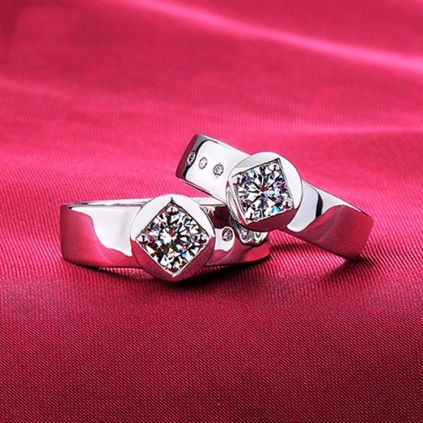 Diamond Shape ESCVD Diamonds Lovers Rings Wedding Rings Couple Rings