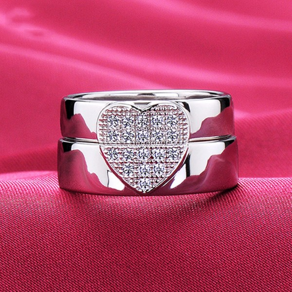 A Patchwork Of Heart ESCVD Diamonds Lovers Rings Wedding Rings Couple Rings