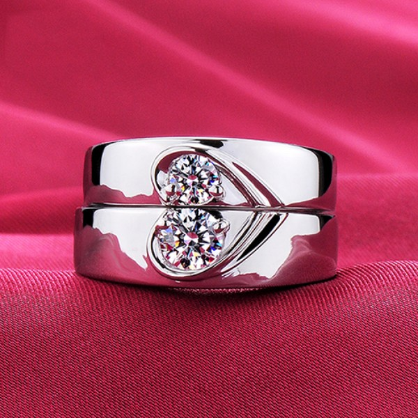 Heart To Heart Together ESCVD Diamonds Lovers Rings Wedding Rings Couple Rings