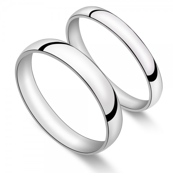 Silver Ring For Couples Simple and Fashion Style Inner Arc Design