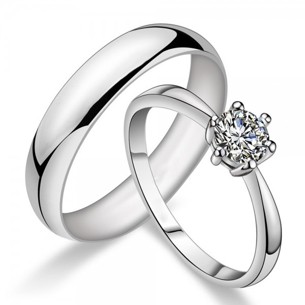925 Silver Ring For Couples Inlaid Cubic Zirconia Simple and Elegant Style