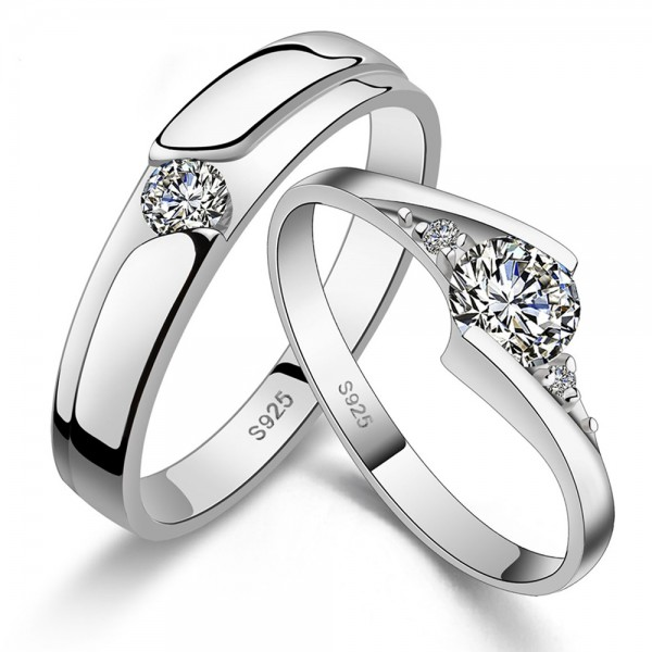 925 Silver Ring For Couples Inlaid Cubic Zirconia Fashion and Liberality Style