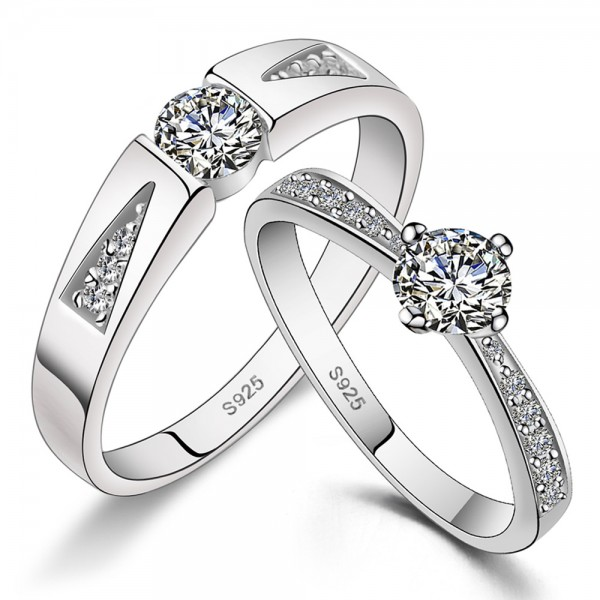 925 Silver Ring For Couples Inlaid Cubic Zirconia Fashion and Luxury Style