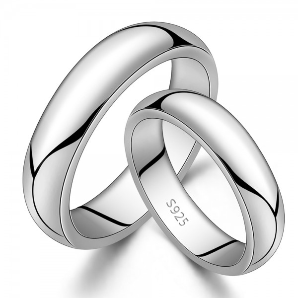925 Silver Ring For Couples Mirror Polish Surface Thick Edition Inner Arc