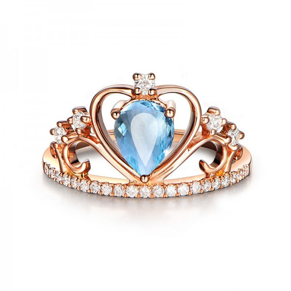 Natural Blue Topaz Crown Rose Gold  Ring For Women