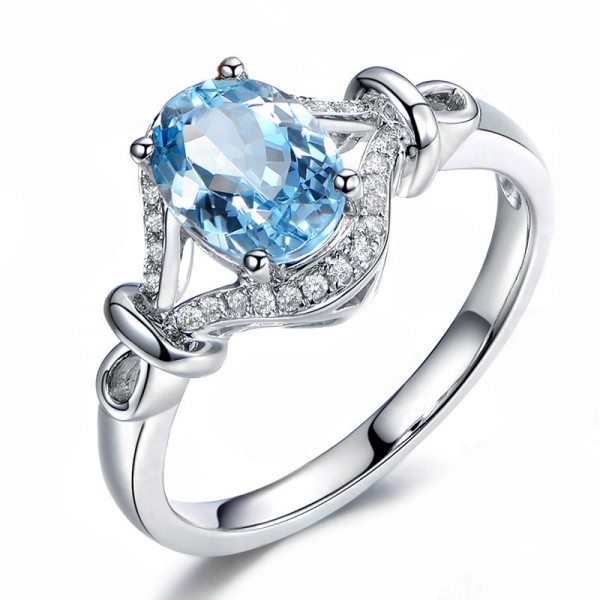 925 Sterling Silver Plated Platinum Blue Topaz Ring For Women