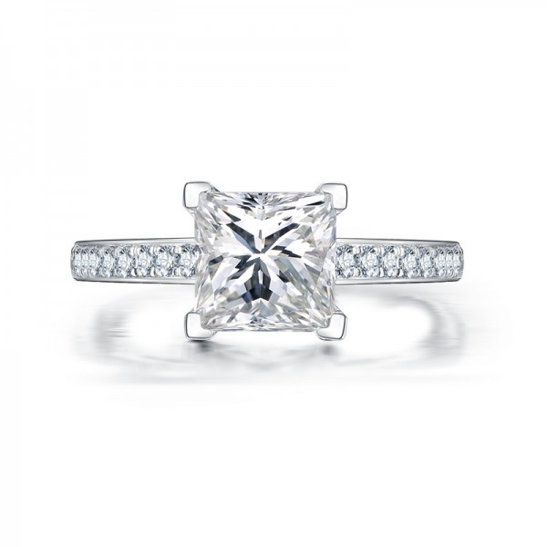 1.6ct Princess Square 4 Claws 925 Sterling Silver Wedding/Promise Ring
