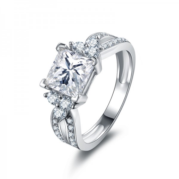 Fashion Design SONA Diamond 925 Sterling Silver Wedding/Promise Ring