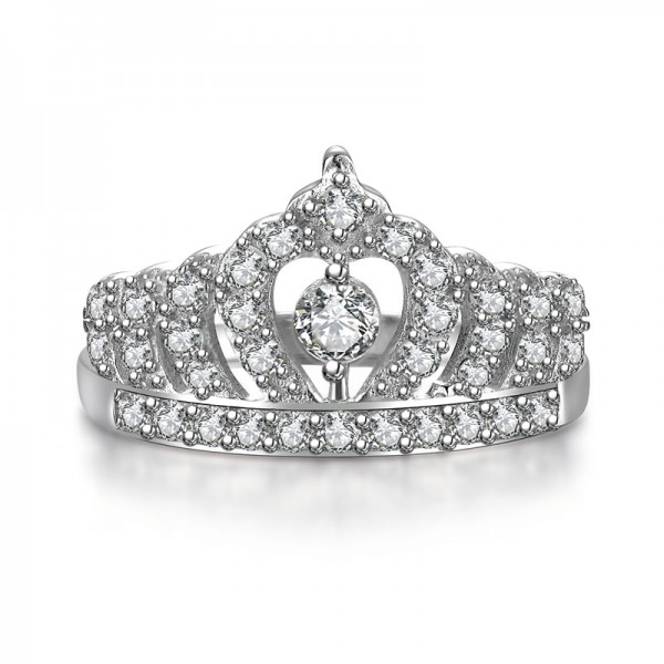 Crown SONA Diamond 925 Sterling Silver Wedding/Promise Ring