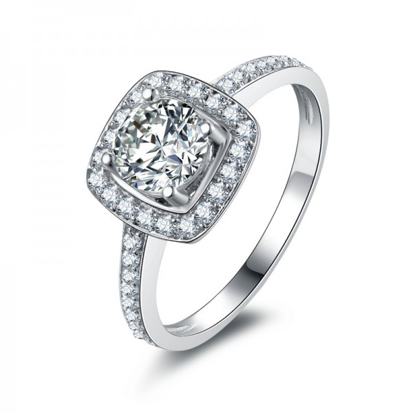 Fashion SONA Diamond 925 Sterling Silver Wedding/Promise Ring