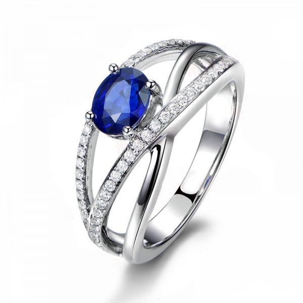 Blue Cubic Zirconia 925 Sterling Silver Plated Platinum SONA Diamond Wedding/Promise Ring